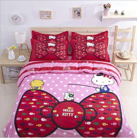 Hello kitty мультфильм постельное белье наборы постельных принадлежностей постельное белье для детей твин королева размер постельное белье пододеяльник лист постельное белье набор купить на AliExpress