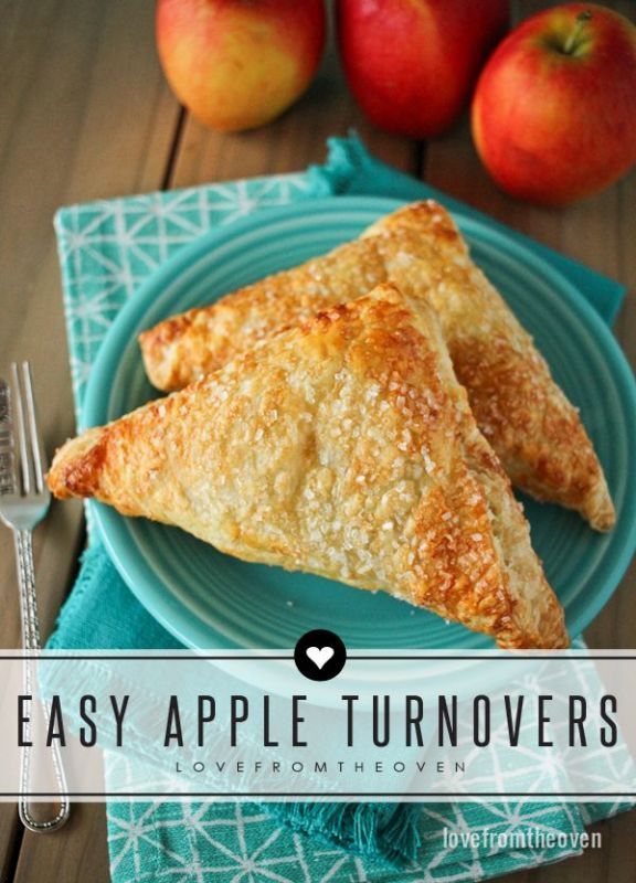 This delicious and easy apple turnover recipe is not only a great way to start a fall day, they are also delicious served warm, topped with ice cream and a drizzle of caramel sauce!
