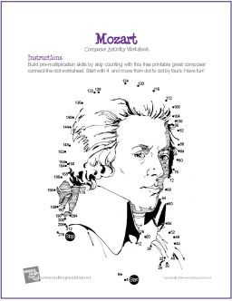 Wolfgang Amadeus Mozart | Multiplication Connect-the-Dot Worksheet - http://makingmusicfun.net/htm/f_printit_free_printable_worksheets/mozart-multiplication-connect-the-dot.htm