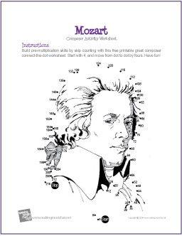 Wolfgang Amadeus Mozart   Multiplication Connect-the-Dot Worksheet - http://makingmusicfun.net/htm/f_printit_free_printable_worksheets/mozart-multiplication-connect-the-dot.htm