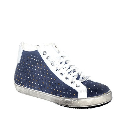 Sneakers in camoscio blu tempestata di strass.