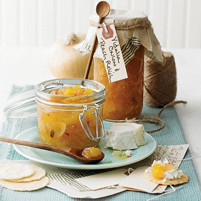 Vidalia Onion & Peach Relish | Create homemade gift tags to add a touch of charm to canned gifts—slip a serving spoon into the twine for extra thoughtfulness. | SouthernLiving.com