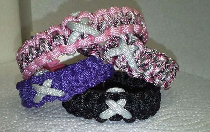 Cancer awareness paracord bracelets