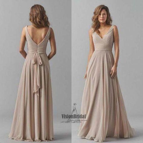 Regular Straps V-Neck Pleating Zipper Up A-Line Long Chiffon Bridesmaid  Dress 2707d35f4241