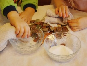 Found this looking for a way to clean coins as SOMEHOW we have ended up with a BUNCH of corroded coins and I think this is a great idea to do with the kids and their abundance of coins ... and will help with counting and money skills maybe..hopefully..LOL