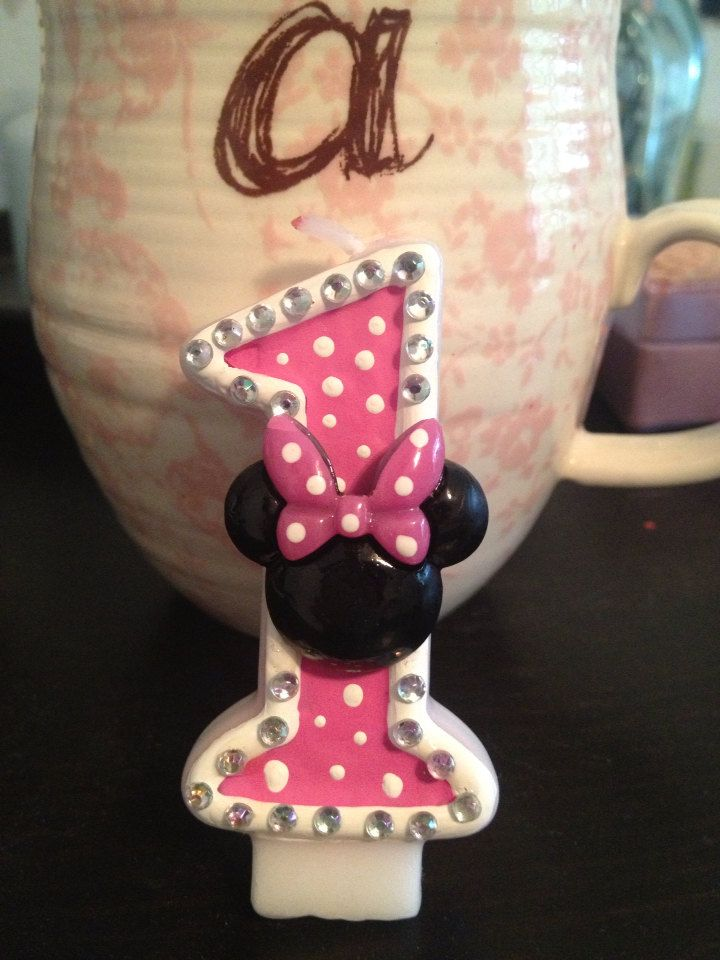 Minnie Mouse Birthday Candle by Adohreeables on Etsy, $6.00