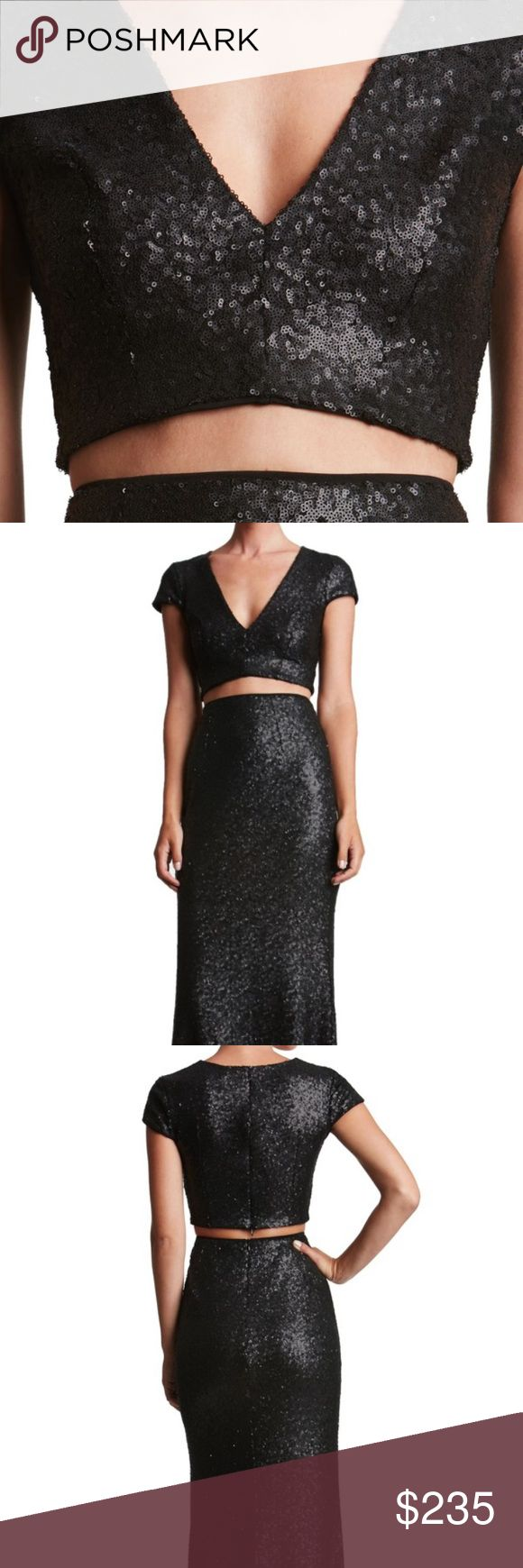 Sequined Formal Gown Dress the Population gorgeous two piece gown. This is currently being sold on the Nordstrom website for $298. I wore it one night to a wedding. There is no damage or alterations to the dress. It fits beautifully. Dress the Population Dresses