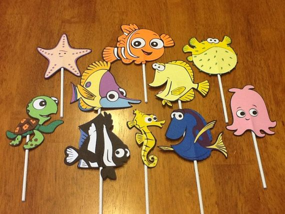 Can be used for puppets.....10 Finding Nemo Cupcake Toppers, Finding Nemo Party Decorations, Nemo Decor, Cupcake Toppers