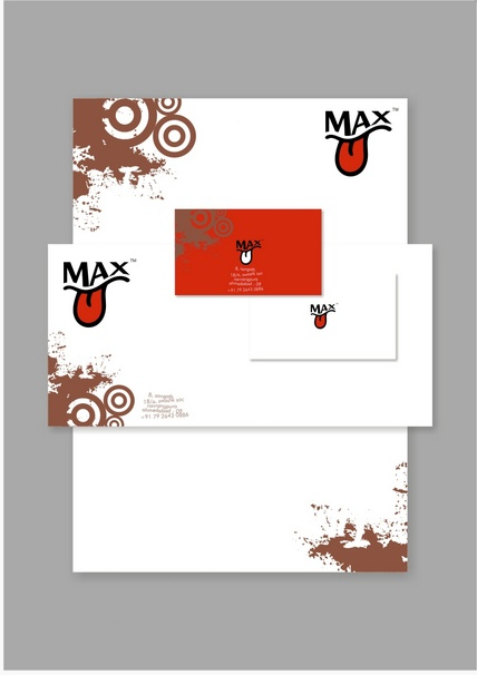 Max business card letterhead and envelope