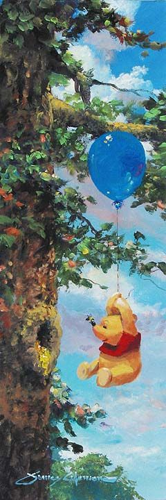 """(Up in the Air by James Coleman) """"When you go after honey with a balloon, the great thing is not to let the bees know you're coming."""" ~Winnie The Pooh"""