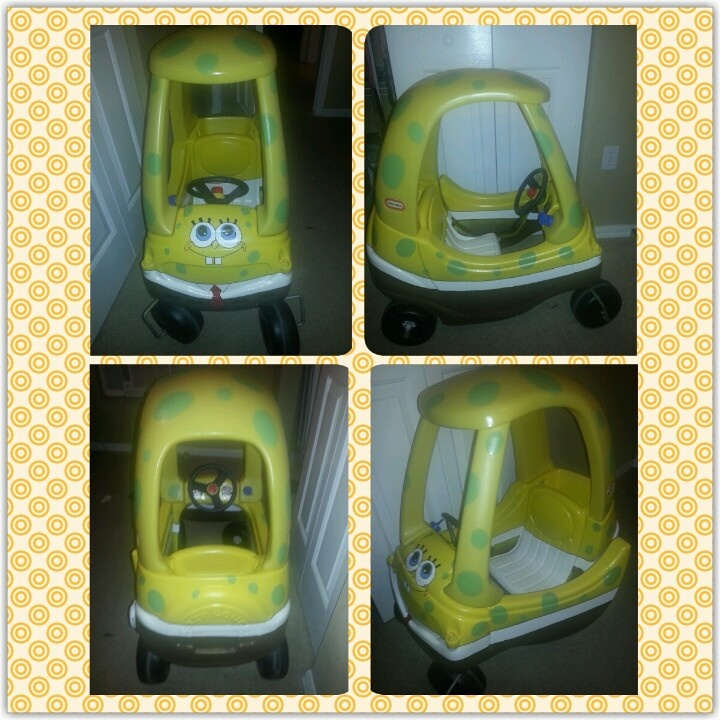 One of a kind custom hand painted Cozy Coupe Spongebob. Made by me for my BFF son who loves Spongebob!