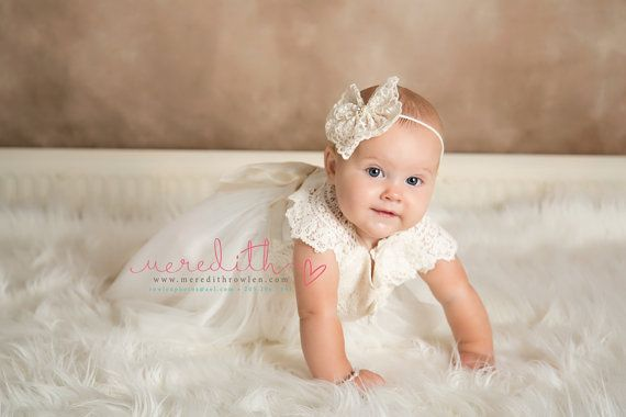 Ivory Cream Baptism Christening Lace Hair by bellasbowtique2008