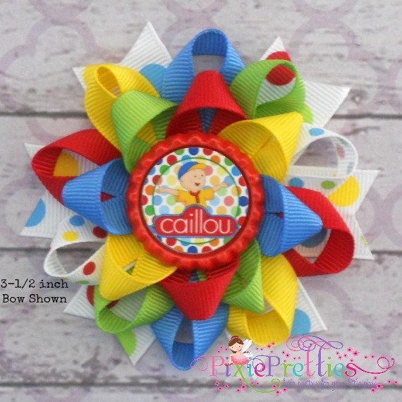 Caillou Loopy Flower Hair Bow by PixiePretties on Etsy