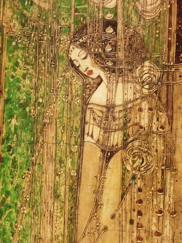 Margaret Macdonald Mackintosh • O Ye, All Ye That Walk in Willowwood panel from the Room de Luxe, Willow Tearoom, Glasgow (detail)