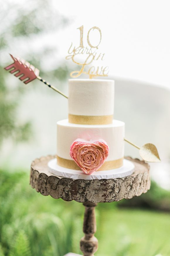 This vow renewal cake would be great for a wedding if you use a different cake topper.