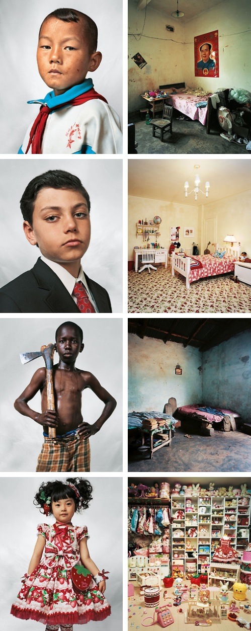 """Where Children Sleep"" by James Mollison - Top to bottom: China, New York, Senegal, Tokyo"