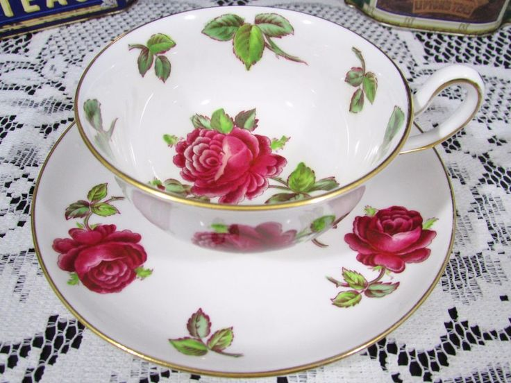 ROYAL CHELSEA ENAMEL RED ROSES TEA CUP AND SAUCER | Antiques, Decorative Arts, Ceramics & Porcelain | eBay!