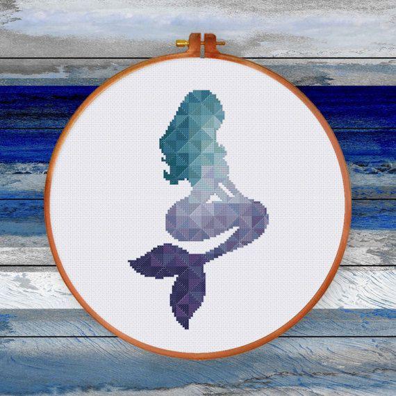 Geometric Mermaid cross stitch pattern Baby teal purple sea