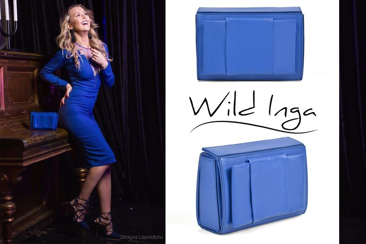 A royal blue clutch made of natural leather is a feminine accessories, perfect for your chic dress @wi