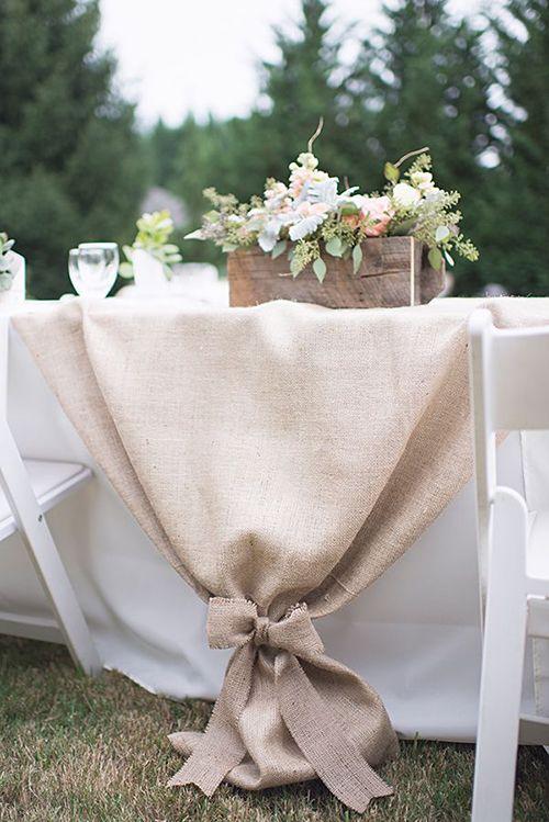 Pretty Table Runner Idea with Tied Burlap   Brides.com