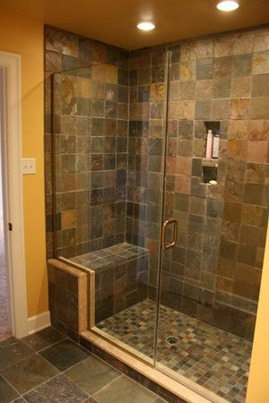Beautiful slate and glass shower in this basement bathroom - Deacon Home Enhancement, LLC