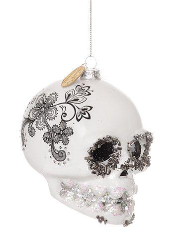 Sugar Skull Glitter Ornament in White at PLASTICLAND
