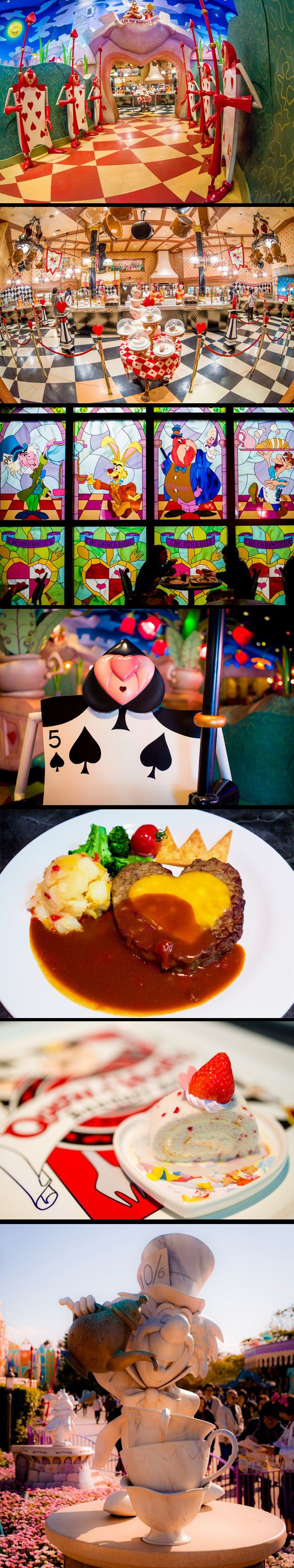 Hearts Banquet Hall, one of the coolest restaurants in Tokyo Disneyland. Alice in Wonderland themed.
