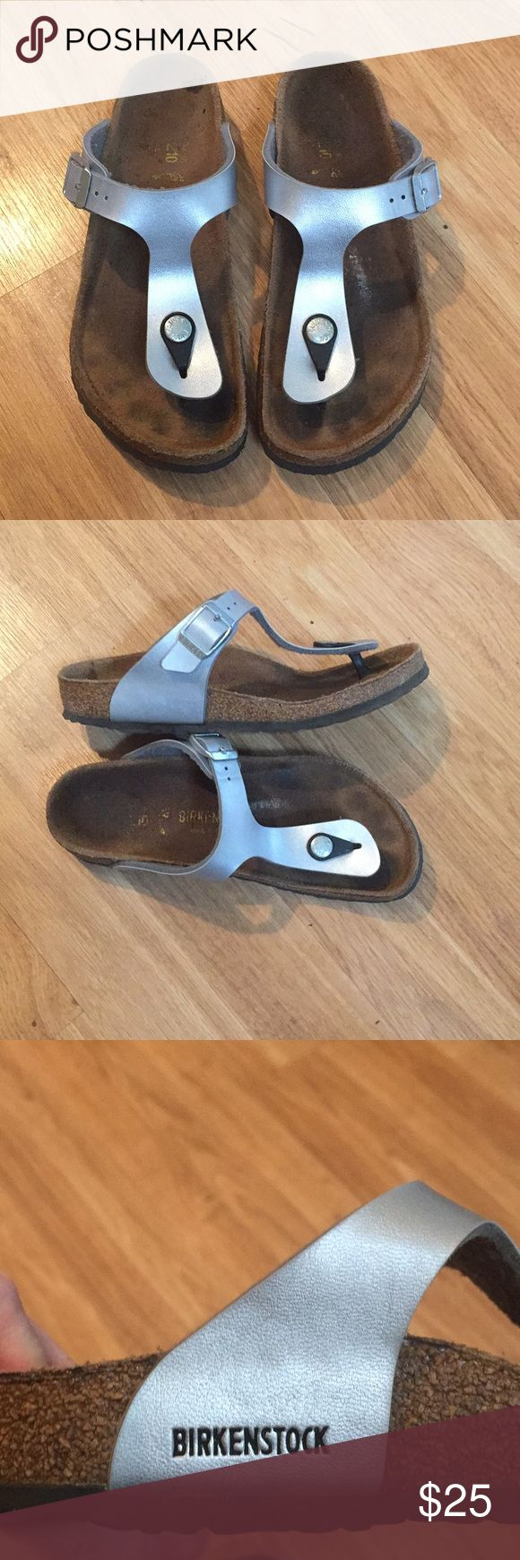 Kids Birkenstock Sandal Great kids thong  Birkenstock with adjustable buckle strap. Style- Gizeh, Silver, Size 33/2-2.5 Signs of normal wear, soles in great shape. Stain on one shoe see photo. Birkenstock Shoes Sandals & Flip Flops