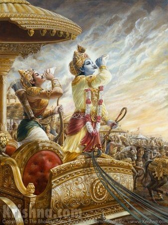 Bhagavad Gita. Krishna and Arjuna on the battlefield.Bg 7.19 — After many births and deaths, he who is actually in knowledge surrenders unto Me, knowing Me to be the cause of all causes and all that is. Such a great soul is very rare.