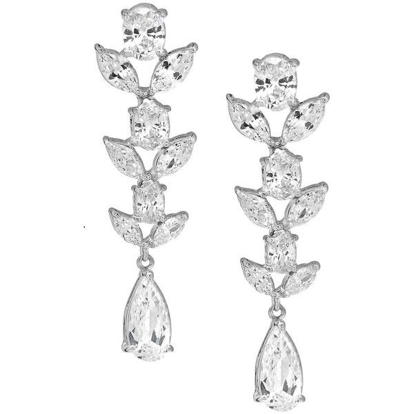 Saks Fifth Avenue Crystal & Silver Solid Fill Dangle & Drop Earrings ($30) ❤ liked on Polyvore featuring jewelry, earrings, dangle earrings, long earrings, drop earrings, silver dangle earrings and dangling jewelry