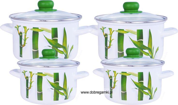 Komplet Okuwany 16,18,20,22 cm z pokrywkami szklanymi. Wzór babmus doda odrobiny szaleństwa w każdej kuchni.