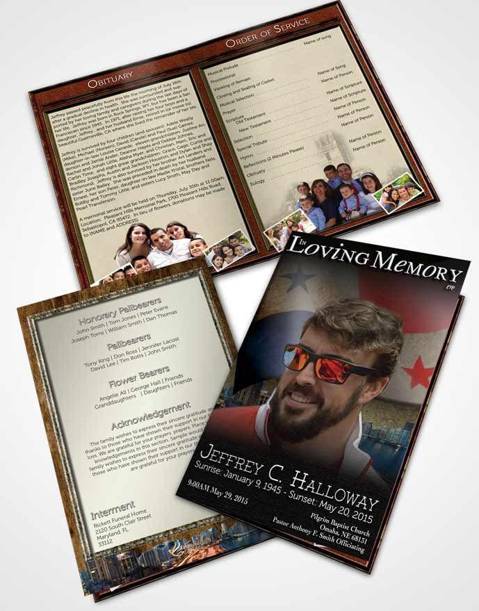Bifold Order of Service Obituary Template Brochure Panamanian