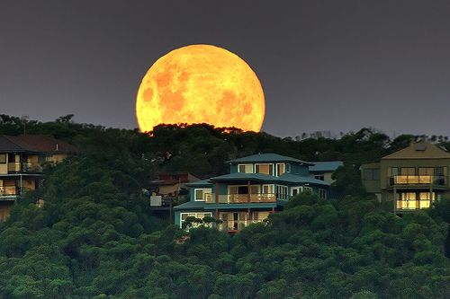 Moon rising over Copacabana, Central Coast, NSW, Australia