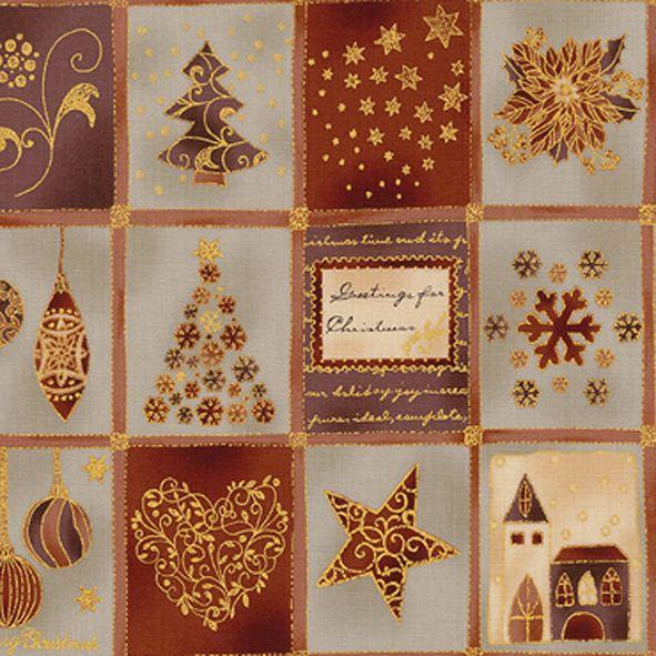 PANEL Vánoční bavlněná látka Vánoce hnědozlaté na šedé