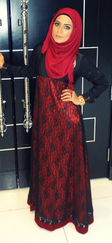 Red-Black #Hijab Gown.
