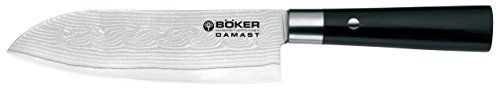 Boker 130417DAM Damascus Santoku Knife with 6 34 in Blade Black * To view further for this item, visit the image link.