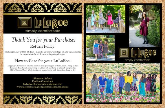 LuLaRoe Consultant Return Card LuLaRoe by TicTacsApparelGifts