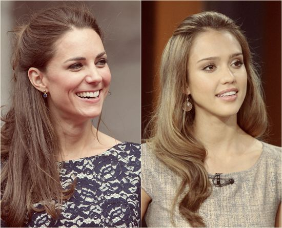 Kate Middleton and Jessica Alba half up and half down hairsytle for autumn 2013