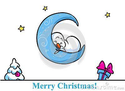 Christmas snowman character sleeping moon cartoon illustration isolated image