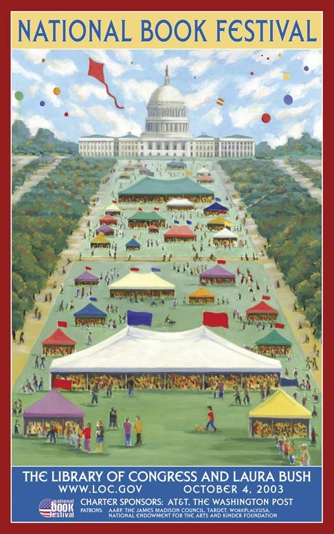 2003 USA National Book Festival poster ©   Joey P. Mánlapaz (Artist. Phillipines - USA). Artist site: http://www.artlineplus.com/artists/manlapaz/manlapaz.html An fairly accurate depiction of the National Book Festival except... add huge crowds, hours long lines & sauna-like heat & humidity. Still, it's worth it to meet & greet your favorite authors & illustrators. They pull in the big names here. -pfb  ... Washington, DC. USA.