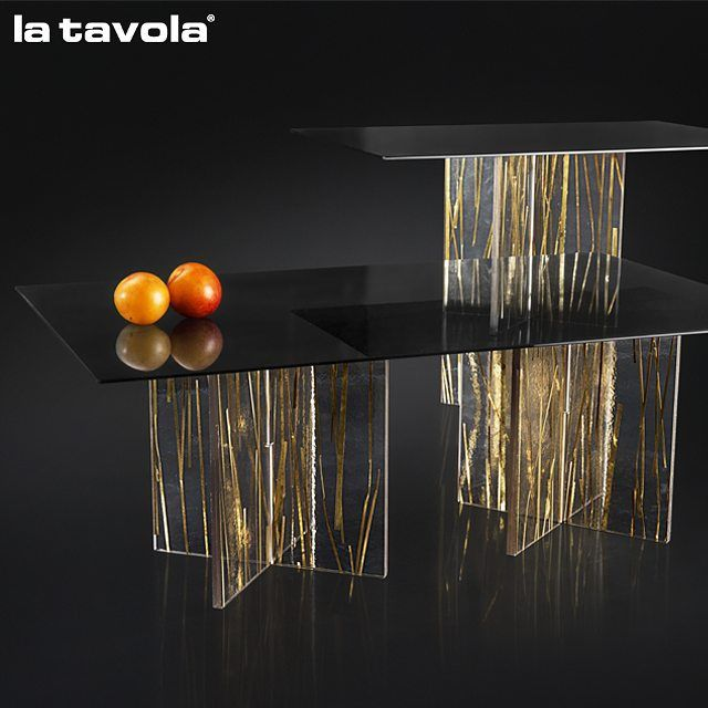 Gold 'Comet' Risers with hardened smoked glass tops  Discover more at…