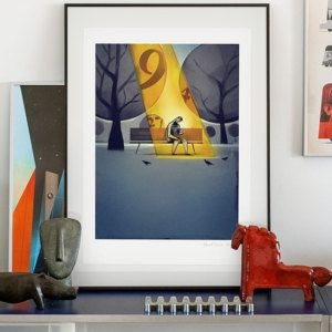 Goldfinger. Illustration art giclée print signed by the artist Pawel Jonca. A2 poster. Lotto winner sitting in a parc.