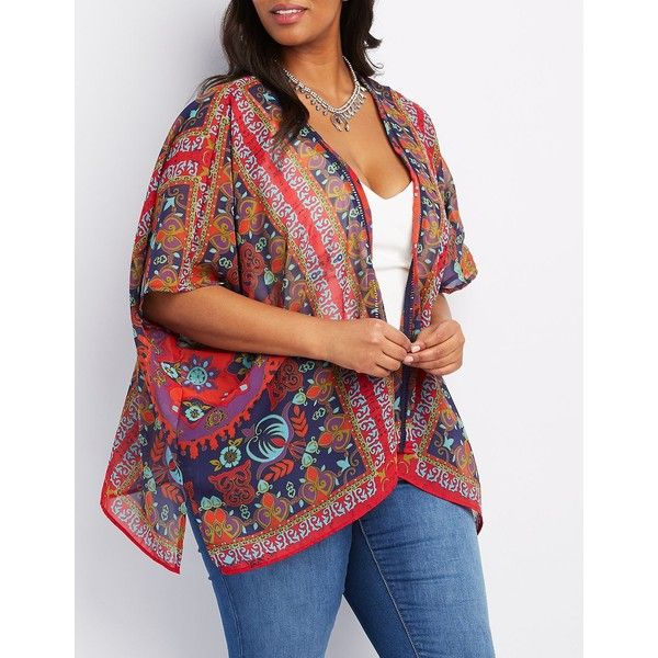 Charlotte Russe Lace-Inset Medallion Print Kimono ($31) ❤ liked on Polyvore featuring plus size women's fashion, plus size clothing, plus size intimates, plus size robes, navy combo, sheer robe, kimono robe, sheer kimono, womens plus size robes and sheer kimono robe