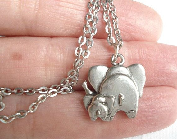 Elephant Necklace Friendship Necklace Elephant Behinds Silver Elephant Pendant  Mother and Child Friend Jewelry