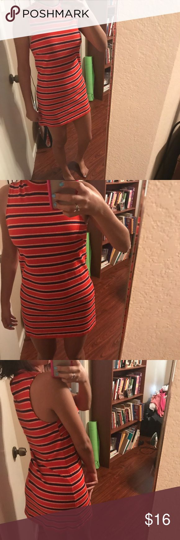 """Red & blue striped mini dress This is such a comfy dress. If you're on the taller side you could even tuck it into some cute pants and wear as a cute tank top! As shown in the picture, I am 5'4"""" and that's how it looks on me. Forever 21 Dresses Mini"""