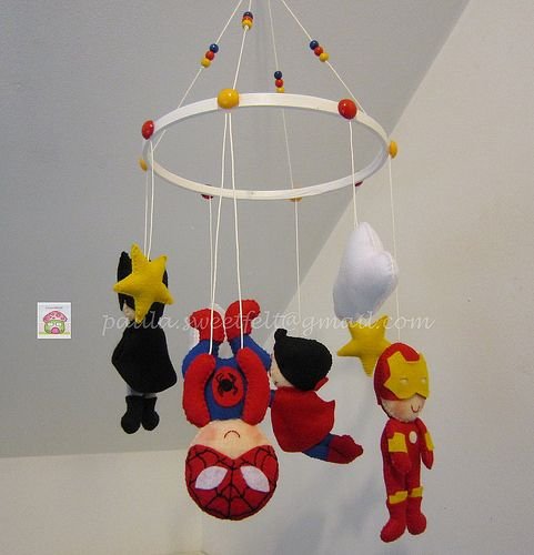 ♥ ♥ ♥ Mobile superheroes ... Because boys love! by sweetfelt ideas in felt