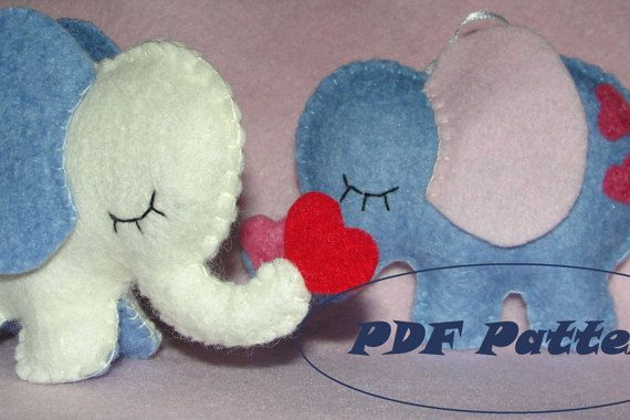 Lovely Felt Elephant Sewing Pattern Baby Shower by NitaFeltThings