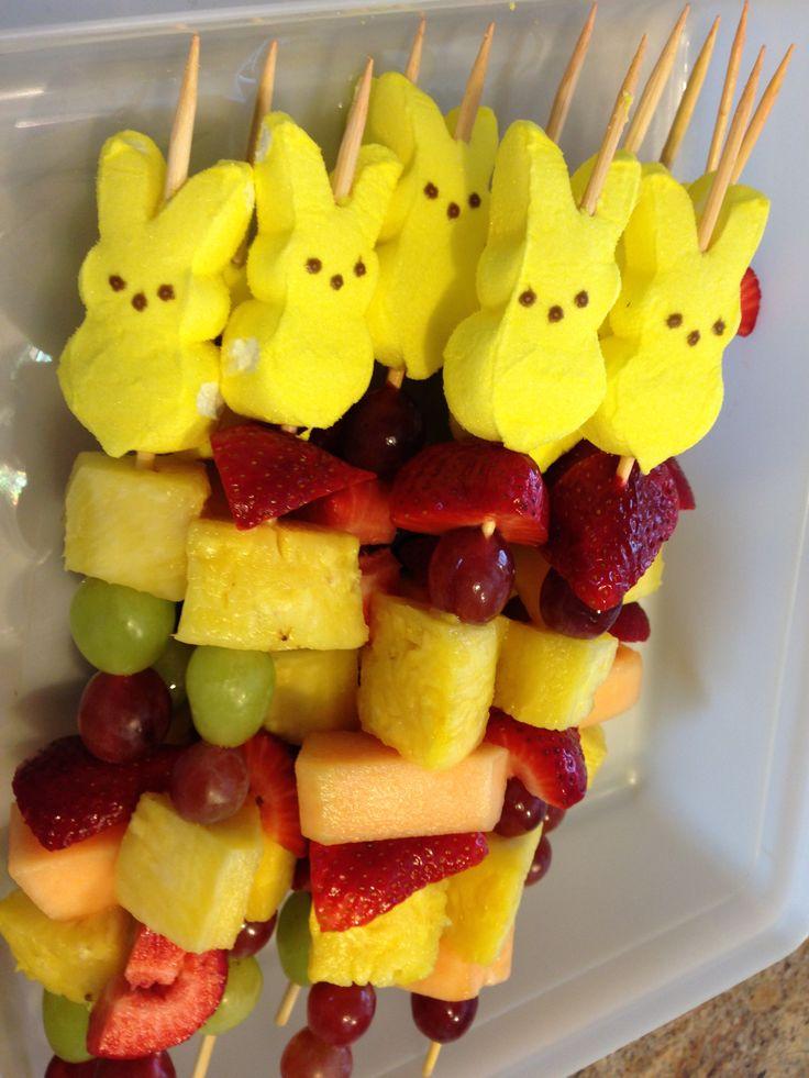 Easter bunny fruit kabobs too fun holidays pinterest