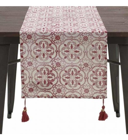 FABRIC TABLE RUNNER W_TASSELS IN RED_WHITE COLOR 40X140