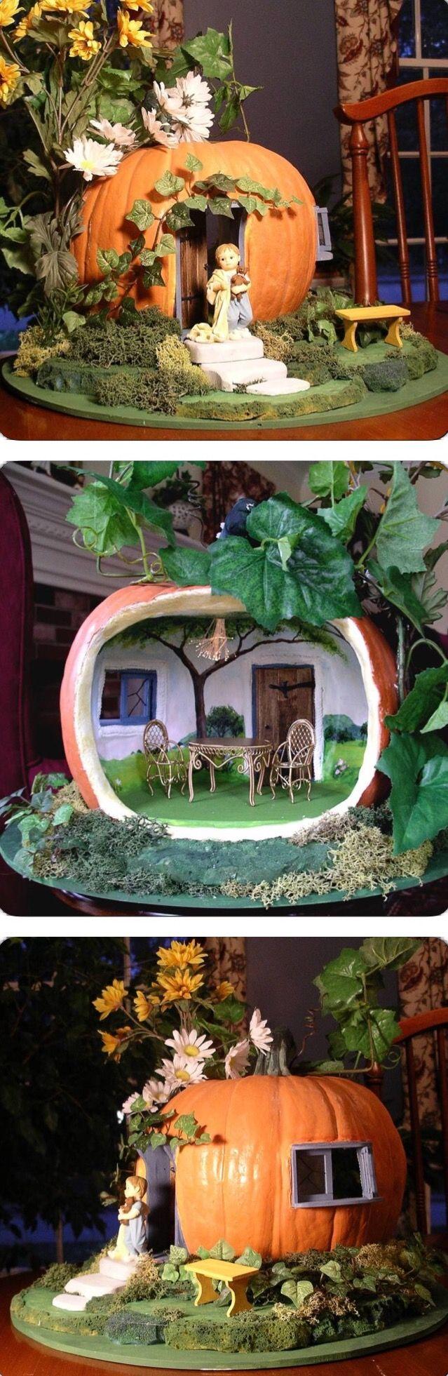 ADORABLE PUMPKIN HOUSE fairy garden! ~ The Pumpkin House from http://grazhina-pumpkin-house.blogspot.com/2008/06/what-to-do-with-styrofoam-pumpkin.html?m=1